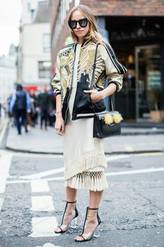 gold bomber, lucite heels, and a gorgeous skirt #StreetStyle