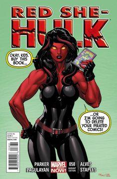 Red She-Hulk Vol 1 58 - Marvel Comics cover Database sensational savage Marvel Comic Universe, Marvel Comics Art, Marvel Comic Books, Comics Universe, Comic Book Heroines, Comic Book Characters, Marvel Characters, Red She Hulk, Red Hulk