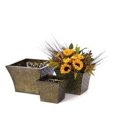 This Embossed Tin Planter Set by Willow Group is perfect! #zulilyfinds