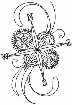 Steam Motifs - Compass Rose design, just add a little Celtic aspect too. Paper Embroidery, Rose Embroidery, Embroidery Patterns, Colouring Pages, Adult Coloring Pages, Coloring Books, Mariners Compass, Quilled Creations, Urban Threads