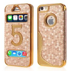#Gold Plated Folio Leather Shell for #iPhone5s 5