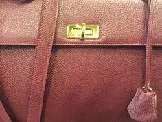 Handmade leather bag inspired by Hermes Kelly bag.