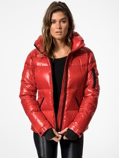 Freestyle Jacket in Candy by Sam. Down Puffer Coat, Puffer Jackets, My Images, Jackets For Women, Leather Jacket, Female, Celebrities, My Style, Sexy