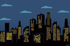 Super Hero Party Background Printable PDF City Scene 40