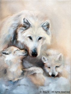 wolf with two pups | Ang.O paintings ~ Animal Paintings : Female wolf with pups
