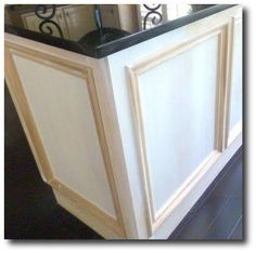 Add moulding to dress up builder grade cabinets