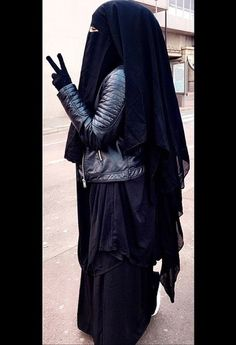 Gorgeous Extra Long Nose String Niqab with Abaya and Leather Jacket