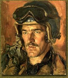 Flight Lieutenant Peter Middleton, 1952 by Sir Ivor Henry Thomas Hele, CBE (1912 - 1993). Hele was an Australian artist. He was the longest serving war artist for the Australian War Memorial and completed more commissioned works than any other Australian artist in the history of Australian art.