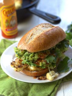 Mexican Cauliflower Steak and Guacamole Sandwich