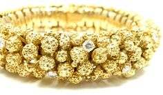 BULGARI Gold Nugget Diamond Bracelet From 1960 | From a unique collection of vintage retro bracelets at http://www.1stdibs.com/jewelry/bracelets/retro-bracelets/