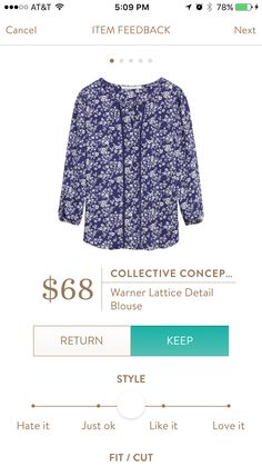 My keeper from Fix ~ #18 - Collective Concepts Warner Lattice Detail Blouse - Pretty floral pattern, lace detailing.