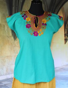 Turquoise & Multi Color Hand Embroidered Mayan Huipil Chiapas Mexico Hippie…