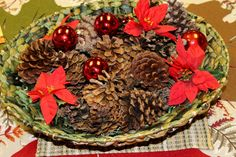 Focus on Christmas 2013 - Table decoration in our Parish Hall - woven basket with pine cones and ornaments Christ The King, Lutheran, Pine Cones, Ohio, Basket, Wreaths, Display, Table Decorations, Ornaments