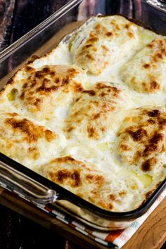 Cheesy Creamy Low-Carb Chicken Cordon Bleu Bake is so delicious that you definitely won't miss the breaded coating that's usually found on Chicken Cordon Bleu. And this recipe is also Keto, low-glycemic, and gluten-free! Use the Diet-Type Index to find more recipes like this one! Click here to PIN Cheesy Creamy Low-Carb Chicken Cordon Bleu Bake!…