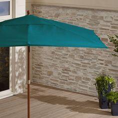Rectangular Sunbrella ® Bold Turquoise Patio Umbrella with Eucalyptus Frame - Crate and Barrel