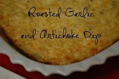 roasted garlic & artichoke dip:  1 (6.5 oz.) jar marinated artichokes, drained and chopped  1 cup reduced fat or regular mayonnaise  1 cup freshly grated Parmesan cheese  1/2 cup grated mozzarella cheese  1 head roasted garlic, mashed  salt and pepper to taste