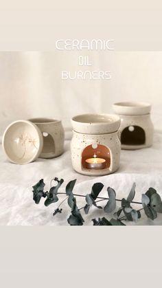 Handmade Australian stoneware oil burner Ceramic Oil Burner, Oil Burners, Stoneware, Place Cards, Place Card Holders, Ceramics, Handmade, Ceramica, Pottery