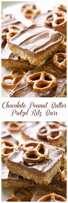 These Chocolate Peanut Butter Pretzel Ritz Bars are seriously to die for! They taste similar to a Reese's Peanut Butter cup but with crunchy pretzels too for extra salty crunch. the-girl-who-ate-.the-girl-who-. Peanut Butter Pretzel, Peanut Butter Desserts, Chocolate Desserts, Chocolate Chocolate, Dessert Oreo, Dessert Bars, Just Desserts, Delicious Desserts, Gourmet