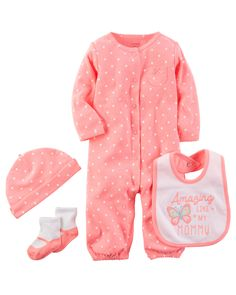 Carters 4 Piece Polka Dot Romper Set Bright Pink 03 Months -- Read more at the image link. Carters Baby Clothes, Carters Baby Girl, Baby Girls, Toddler Fashion, Toddler Outfits, Kids Outfits, Family Tees, Baby Jumpsuit, Baby Necessities