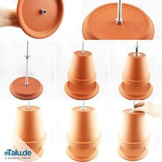 Build your own tealight oven - Questioned: Test of heating power - Talu.de - Assemble the tealight oven - Flower Pot Crafts, Clay Pot Crafts, Flower Pots, Diy And Crafts, Candle Heater, Diy Heater, Fleurs Diy, Diy Décoration, Terracotta Pots