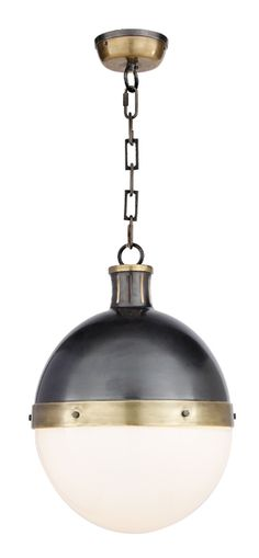 "Circa Lighting - Large Hicks pendant  item # TOB5063	  designer Thomas O'Brien  Height: 17 1/2"" *  Width: 12 1/2""  Canopy: 4 3/4"" Round   Chain: Ships With 6 ft of Chain  Shade: White Glass  Wattage: 2 - 75 Watt Type A  Socket: Porcelain"