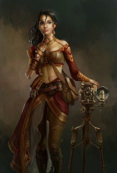 Steampunk Photographer by DireImpulse female Indian explorer armor clothes clothing fashion player character npc   Create your own roleplaying game material w/ RPG Bard: www.rpgbard.com   Writing inspiration for Dungeons and Dragons DND D&D Pathfinder PFRPG Warhammer 40k Star Wars Shadowrun Call of Cthulhu Lord of the Rings LoTR + d20 fantasy science fiction scifi horror design   Not Trusty Sword art: click artwork for source