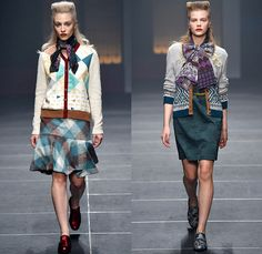 IN-PROCESS BY HALL OHARA 2015-2016 Fall Autumn Winter Womens Runway Catwalk Looks - Mercedes-Benz Fashion Week Tokyo Japan - Bauhaus Art Nouveau Seventies 1970s Plaid Outerwear Coat Dress Print Leggings Cardigan Pants Trousers Pussycat Bow Sweater Jumper Silk Skirt Frock Quilted Scarf Shorts Culottes Flowers Florals Graphic Pattern Mix Geometric Zigzag Paisley Stripes Waves Grid Mesh