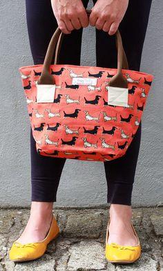 Poppy Treffry on Etsy! Long Rock tote bag in darling dachshund fabric