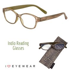 """Metallic meets reptile with our new Indio reading glasses! Order the """"no power"""" option to receive demo lenses ready to fit with your prescription! Available in green and brown; matching case included."""