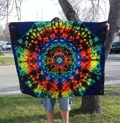 "Rainbow Tie Dye Tapestry Hippie Wall Hanging (53"" x 45"") Stained Glass on Etsy, $70.00. Ughhhh now I really want these"