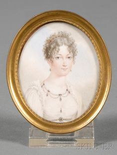 French Portrait Miniature on Ivory of Empress Marie Louise, 19th century