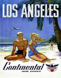 Los Angeles * Continental Air Lines poster 1960s