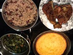 My ode to the Caribbean. Jerk Pork Chops, Collard Greens, Cornbread and Rice & Peas.