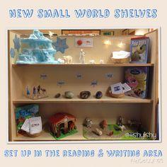 Small world shelves - Polar bears, Frozen and the farm Reggio Classroom, Classroom Layout, New Classroom, Primary Classroom, Preschool Rooms, Daycare Rooms, Book Area, Nursery Layout, Early Years Classroom