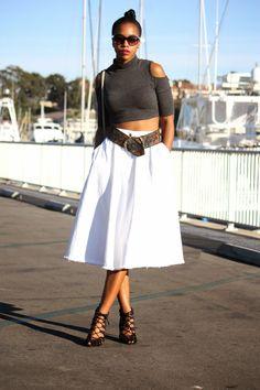 Honey In My Heels >>> White Denim Midi + Blue Seascape #fashion #streetstyle #blogger #ootd