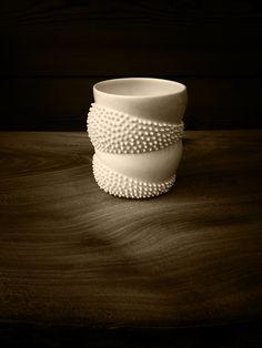 Spiky Kinorhyncha Beaker in porcelain by Ikuko Iwamoto. Photo by Ed Chadwick.