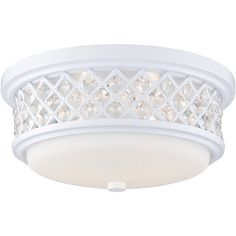 Flush mount in white.    Product: Flush mount    Construction Material: Metal and glass    Color: Whit...