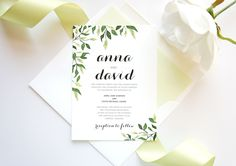 Shown in Green. Colors can be customized to reflect your wedding for each design! View Color Chart. ***Note- we cannot change the colors on the floral graphic for this specific design, but text and em