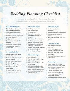 Wedding Planning Checklist: Have a wedding coming up? Have a wedding checklist on hand to keep yourself organized during this busy time. Weve created a general timeline for brides who need reminders that theyre already on track. You can download the wedding planning checklist here.