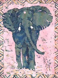 Elephant Hippo Batik Paintings