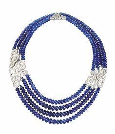 Cartier. Diamond & sapphire bead necklace...♡
