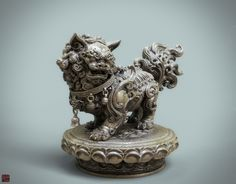 ArtStation - A Chinese lion statue(Bronze version ), Zhelong Xu