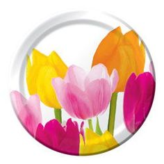 Spring Tulips Paper Luncheon Plates