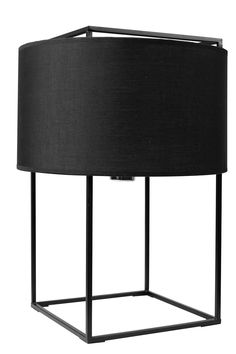 Replica Lewit M Table Lamp -- Originally designed by Jordi Veciana, this beautiful reproduction casts a beautiful and soothing glow through its linen shade.  A translucent linen drum shade encircles a metal cube shaped frame. The Perforated metal diffuser on top of the shade shields direct view of the lamp.  Use this sophisticated cube/drum light as a stand alone feature, or as a repeated set throughout your home.  --149.0000