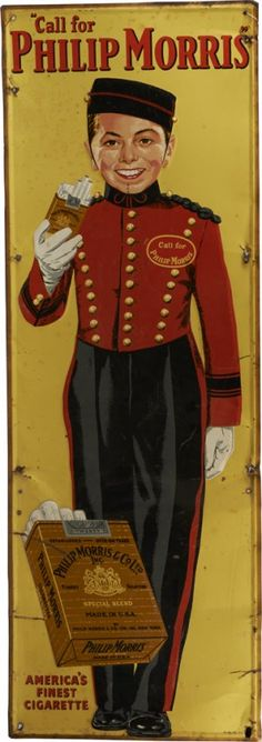 "Advertising Sign,20thc,....Phillip Morris Cigarettes Advertising ""Bellboy"" Embossed Tin Sign."