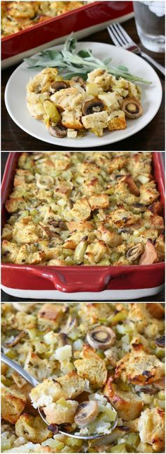 Sourdough Stuffing with Mushrooms, Apples, and Sage Recipe on twopeasandtheirpod.com The BEST stuffing recipe and perfect for your holiday feast!