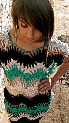 #croche de grampo   Você pode também misturar as cores nas camadas, criando listras!