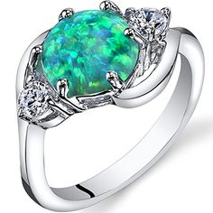 Created Green Opal 3 Stone Ring Sterling Silver 125 Carats Size 6 >>> Read more  at the image link.Note:It is affiliate link to Amazon.