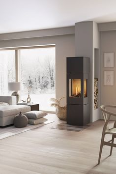 NEXO GAS is available in five different sizes as NEXO 160 and The stove can be c Living Room Accents, Home Accents, Living Room With Fireplace, Fireplace Design, Living Room Interior, Future House, Home And Living, Home Furniture, Family Room