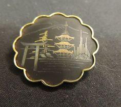 Amita Asian Motif Damascene Enamel Temple Pagoda Tree Brooch Pin Black Matte 60s